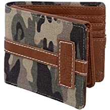 Roots 73 Men's 2 in 1 RFID Protected Canvas Stitched Bifold Flip Out ID Wallet Camo