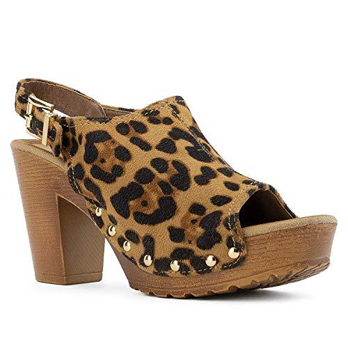 (Women's Platform Heeled Sandals Ankle Slingback Strap Wood Chunky Block Heel Peep Toe Clogs Shoes Leopard 9)