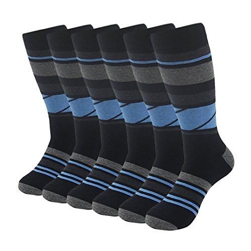SUTTOS Mens Dress Socks, Mens Patterned Socks Men's Wedding Socks Groomsmen Socks 6 Pack Blue Black Pane Check Stripe Casual Crew Socks,Light Weight High Performance Socks