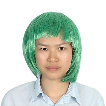 DealMux corta de las señoras corte recto postizo plana pelo de las explosiones de la peluca verde del césped: Amazon.es: Belleza