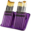 Paint Brushes - 15 Pc Art Brush Set for Watercolour Acrylic Oil & Face Painting - Long-handle Artist Paintbrushes with Travel Holder (Royal Purple) & Free Gift Box 1 Year Warrantyの商品画像