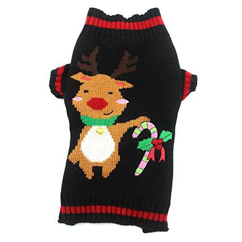 DOGGYZSTYLE Pet Holiday Christmas Reindeer Dog Sweater Co...