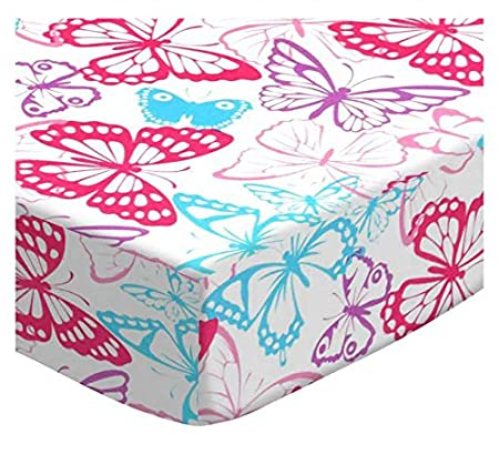SheetWorld Fitted Portable Mini Crib Sheet - Flamingos Aqua Jersey Knit - Made In USA PC-J004