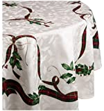 Lenox Holiday Nouveau Tablecloth, 60 by-84-Inch Oval, Ivory