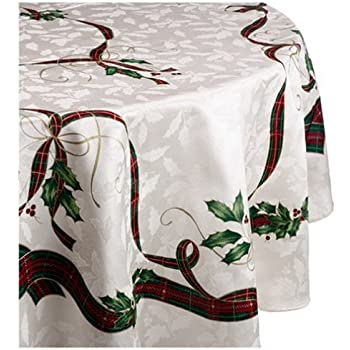 Lenox Holiday Nouveau Tablecloth, 60 By 84 Inch Oval, Ivory
