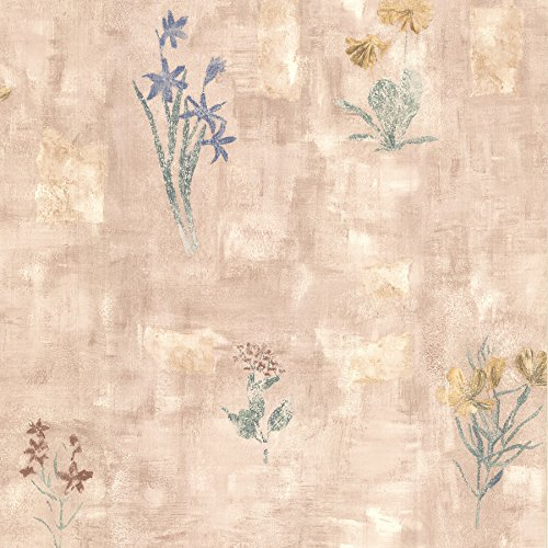 Brewster 347-42718 Twain Terracotta Wildflower Wallpaper, (Wildflower Wallpaper)
