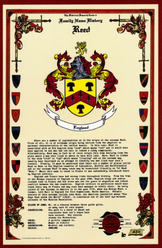 Reed Coat of Arms/Crest and Family Name History, meaning & origin plus Genealogy/Family Tree Research aid to help find clues to ancestry, roots, namesakes and ancestors plus many other surnames at the Historical Research Center Store (Crest Family Surname)