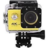 Acouto Action Camera 4K 12MP 30M Waterproof Underwater Sport Camera Vedio Camcorder 170 Degree Wide Angle Wifi Cam with Waterproof Housing Case and Remote Controller Accessories kits (yellow)