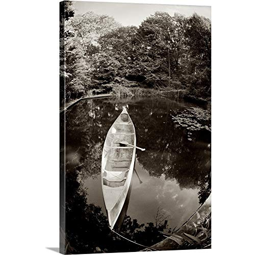 GREATBIGCANVAS Gallery-Wrapped Canvas Entitled A Canoe and Oar Floating in a Pond on Summer Day with Trees Reflecting in The Water. by 40