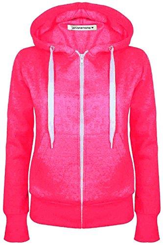 Janisramone Donne Le signore Nuovo Lungo Manica pianura Felpa con cappuccio Zip Up vello Felpa Saltatore Caldo Maglione Cappotto Cima Neon Rosa