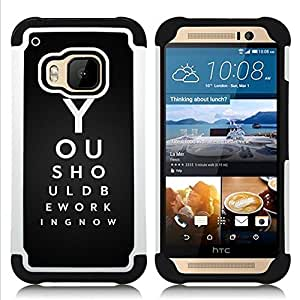 GIFT CHOICE / Defensor Cubierta de protección completa Flexible TPU Silicona + Duro PC Estuche protector Cáscara Funda Caso / Combo Case for HTC ONE M9 // You Should Be Working //