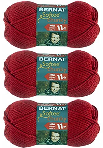 Bernat Softee Chunky Yarn Bundle Super Bulky No. 6, 3 Skeins Berry Red 28705