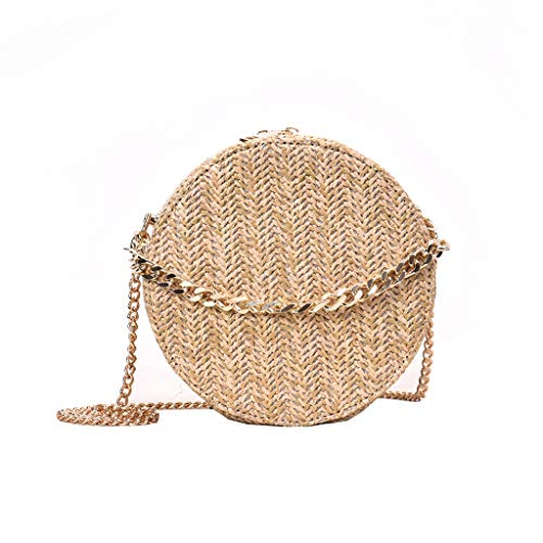 Handwoven Round Rattan Bag for Women - Straw Bag Beach Crossbody Purse with Shoulder Straps Lined Boho Handbag
