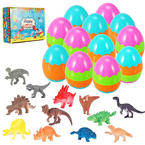 Easter Eggs Filled with Mini Dinosaurs, Perfect for Easter Basket, Party Favors, Easter Egg Hunts(12 Pack)