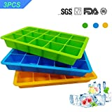 3 Pack Silicone Cube Ice Tray,Flexible 15-Cavity Silicone Ice Cube...