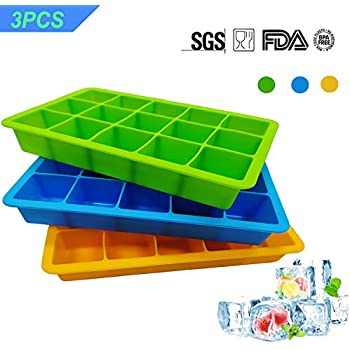 3 Pack Silicone Cube Ice Tray,Flexible 15-Cavity Silicone Ice Cube Mold- BPA Free, Stackable, Easy Release (3 colors - Orange/blue/green)