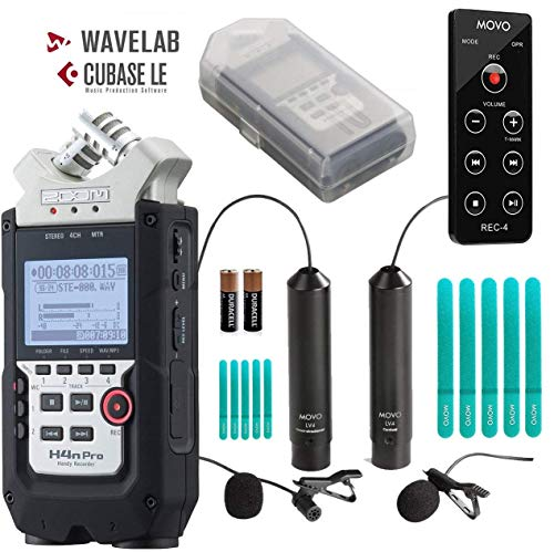 Zoom H4n PRO 4-Channel Handy Recorder Bundle with Movo Omnidirectional & Cardioid XLR Lavalier Microphones + Remote Control