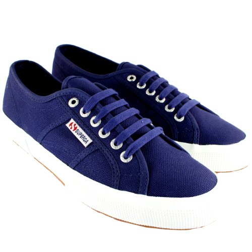 Mens Superga 2750 Cotu Classic Sneakers Stringate In Tela Blu Scuro
