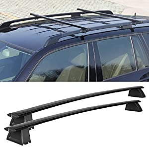 Cheesea Black Front and Rear Roof Rack Cross Bars Set For 2011 2017 Jeep Grand Cherokee (Only Fit LIMITED and OVERLAND)