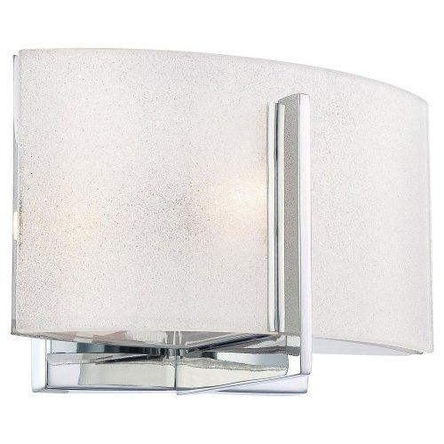 Minka Lavery Wall Sconce Lighting 6391-77, Clarte Glass Damp Bath Vanity Fixture, 1 Light, 40 Watts Halogen, Chrome ()