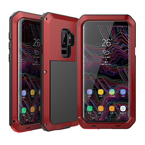 Galaxy S9 Plus Case, Amever Water Resistant Aluminum Metal Alloy Bumper Frame [ Shockproof Dropproof Dirtyproof ] Anti Shake Outdoor Sports Protective Back Cover Case for Samsung Galaxy S9 (Silicone Skin Cover Curve)
