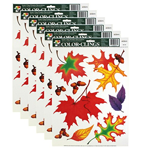 Color-Clings 9-Count Static Cling Window Decorations, Autumn Leaves, ()