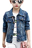 Aulase Denim Jackets Girl Denim Jackets Classic Basic Button Down Coat Girls' Outwear 10-12Y