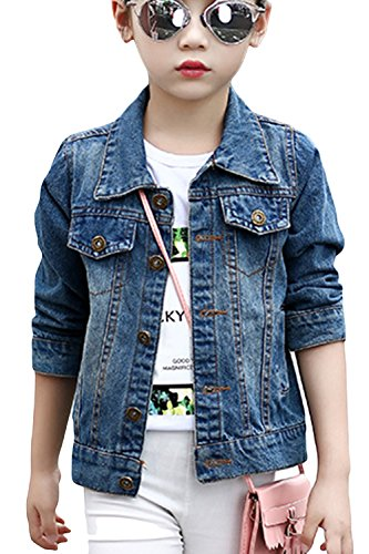 Aulase Denim Jackets Girl Denim Jackets Classic Basic Button Down Coat Girls' Outwear 6-7Y by Aulase (Image #7)