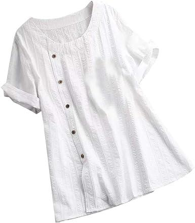 Kawaiine Blusa Suelta de algodón y Lino con Cuello en O y Manga Corta para Mujer - Blanco - XXX-Large: Amazon.es: Ropa y accesorios