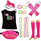 80s Costume Women and Accessories Set Fanny Pack Necklace Bangle Headband Leg(XL, Pink)
