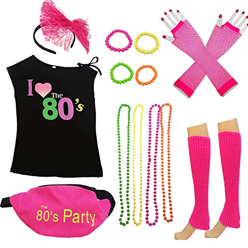80s Costume Women and Accessories Set Fanny Pack
