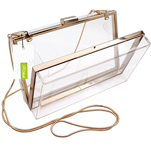 Evening Shoulder HQdeal Women Ladies Clutches Handbag White Bags Luxury for Fashionable Transparent Clear Acrylic Gift Ideal qIqYF