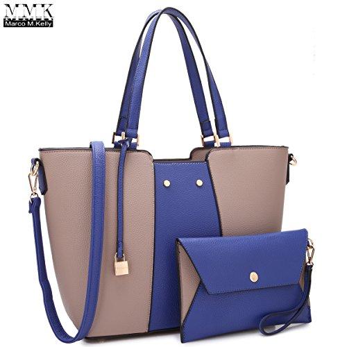 MMK Collection Fashion Large Women Designer Tote Handbag~Vegan Leather Two-Tone Color(7608)~All Season long handbag~Beautiful Tote bag Set with Wristlet wallet~Perfect Satchel - Brand Usa Name