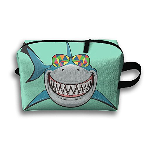 Portable Travel Bag Toiletry Pouch Buggy Bag Cosmetic Bag Makeup Bag Shark With Colored Sunglasses Printing Storage - Ladies Sunglasses Louis Vuitton