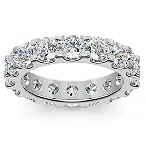 4.00 ct Ladies Round Cut Diamond Eternity Wedding Band Ring in Platinum In Size 6