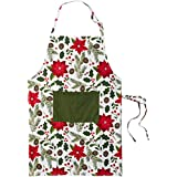 DII Cotton Adjustable Christmas Holiday Kitchen Apron with Pocket and Extra Long Ties, Men & Women Chef Apron for Cooking, Baking, Crafting, BBQ-Woodland