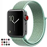 VATI For Apple Watch Band 38MM Sport Loop, Lightweight Breathable Nylon Replacement Band for Apple Watch Band Series 3/2/1, Nike+, Sport, Edition (38MM, Marine Green)