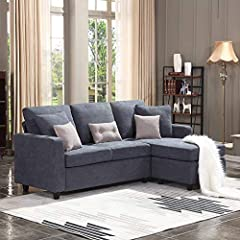 HONBAY Convertible Sectional Sofa Couch with reversible chaise lounge has a sleek modern look that will look great with any style in your home. Soft linen fabric upholstery on hardwood frame with overstuffed back cushions and memory foam seat...