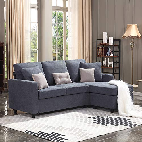 HONBAY Convertible Sectional Sofa Couch, L-Shaped Couch with Modern Linen Fabric for Small Space Dark Grey (Furniture Wood Settee)