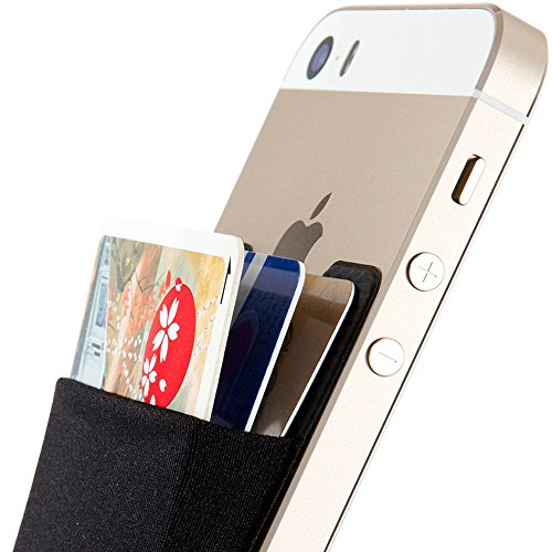 SINJIMORU Card Holder for Back of Phone, Stick on Wallet functioning as Credit Card Holder, Phone Wallet and iPhone Card Holder / Card Wallet for Cell Phone. Sinji Pouch Basic 2, Black.