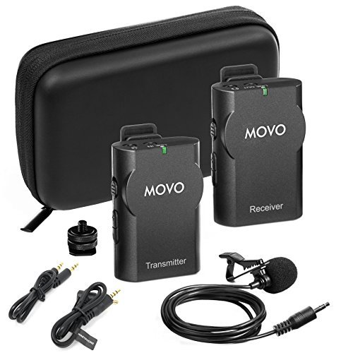 Movo WMIC10 2.4GHz Wireless Lavalier Microphone System for DSLR Cameras,...