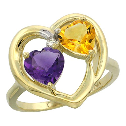 10K Yellow Gold Heart Ring 6mm Natural Amethyst & Citrine Diamond Accent, size 8.5