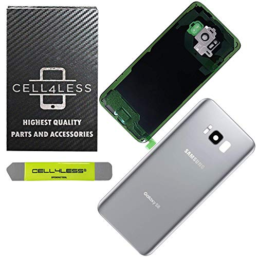 CELL4LESS Replacement Back Glass Cover Back Door w/Pre-Installed Camera Lens/Frame, Adhesive & Removal Tool Samsung Galaxy S8 - All Models G950 All Carriers (Silver)