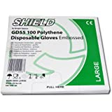 Butchers Sundries - 100 Clear Polythene Disposable Gloves Embossed Size LARGE Food Safe
