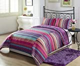 Chezmoi Collection Lilac Purple Stripe 3-Piece Reversible Comforter Set, Queen or Full