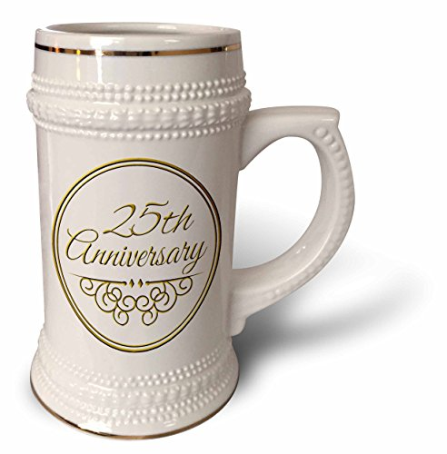 InspirationzStore Occasions - 25th Anniversary gift - gold text for celebrating wedding anniversaries - 25 years married together - 22oz Stein Mug (stn_154467_1) (Wedding Anniversary Stein)