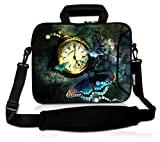 RICHEN 14 15 15.4 15.6 inch Laptop shoulder bag Messenger Bag Case Notebook Handle Sleeve Neoprene Soft Carring Tablet Travel Case with Accessories pocket for ASUS/HP/DELL/Macbook ( Clock & Butterfly)