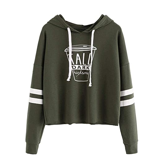 Hoodie Sweatshirt Women MITIY Casual Long Sleeve Letter Print Short Blouses Tops