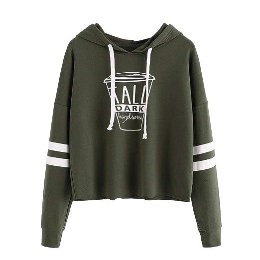 Hoodie Sweatshirt Women MITIY Casual Long Sleeve Letter Print Short Blouses Tops