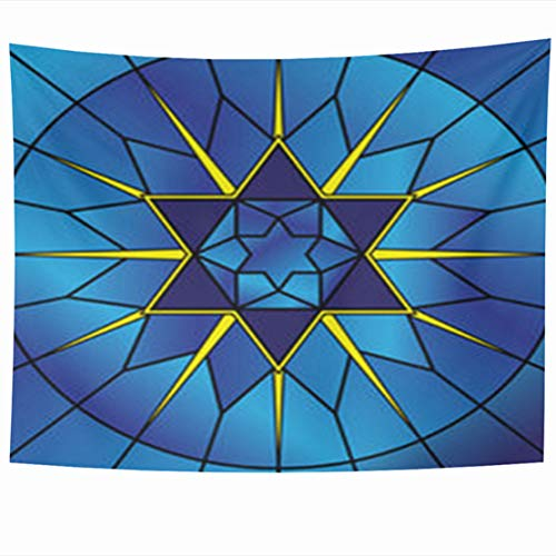 (ArtsDecor Wall Hanging Tapestry, 60 x 50 Inches Glass Stained Star David Pattern Holidays Jewish Judaism Geometric Decor Tapestries for Home Bedroom Living Room Dorm)